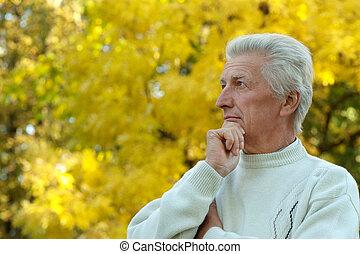 człowiek, jesień, park, dojrzały