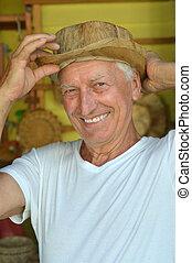 człowiek, kapelusz, dojrzały