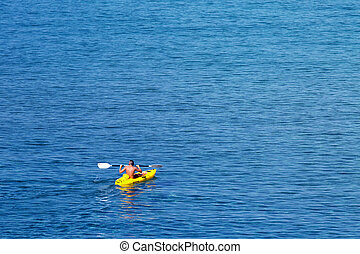 człowiek, kayaking, młody, morze, kaukaski