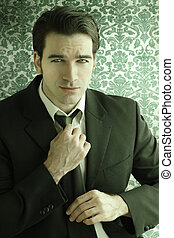 człowiek, klasyk, retro, garnitur