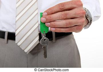 człowiek, klucz, dzierżawa, garnitur