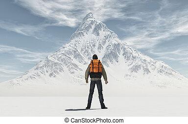 człowiek, konceptualny, plecak, wizerunek