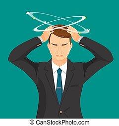 człowiek, krawat, garnitur, silny, ból głowy