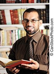 człowiek, książka, młody, biblioteka, czytanie