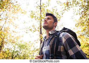człowiek, las, podróżowanie
