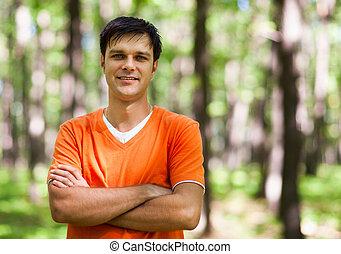 człowiek, las, przypadkowy