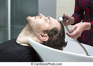 człowiek, młody, fryzjer