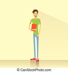 człowiek, młody, książki, student, utrzymywać, przypadkowe ubranie