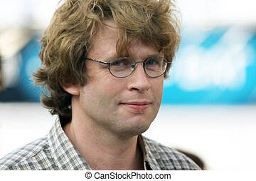 człowiek, młody, okulary