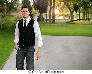 człowiek, młody, outdoors