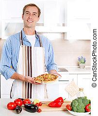 człowiek, młody, pizza, gotowanie