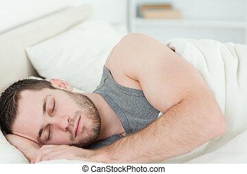 człowiek, młody, spanie