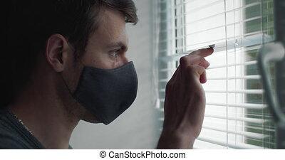 człowiek, medyczny, maska, prospekt okna, bok, reputacja