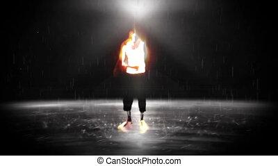 człowiek, mglisto, środek, taniec