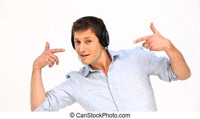 człowiek, muzyka, przypadkowy, słuchający