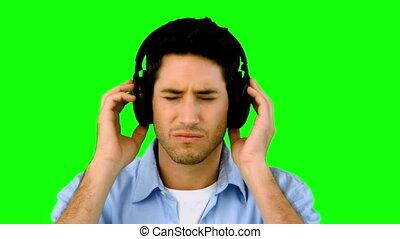 człowiek, muzykować słuchanie, headpho