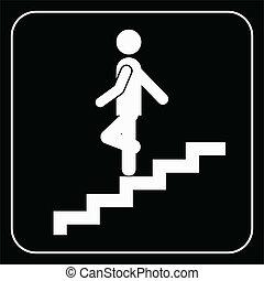 człowiek, na, schody, schodząc, symbol