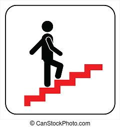 człowiek, na, schody, wchodząc, symbol