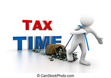 człowiek, naciąg, money.(tax, czas, concept)