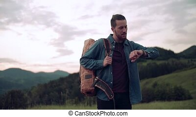człowiek, natura, hiking, turysta, kontrola, plecak, time., ...