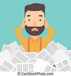 człowiek, newspapers., stóg