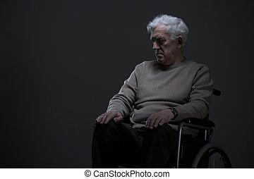 człowiek, niepełnosprawny, stary, samotny