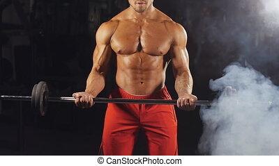 człowiek, obciążać podnoszenie, sala gimnastyczna