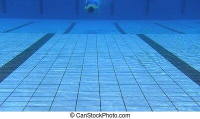 człowiek, pływacki, młody