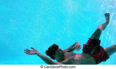 człowiek, pływacki underwater, atak