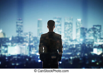 człowiek, patrząc, do, miasto