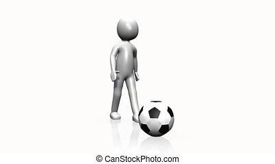 człowiek, piłka nożna, interpretacja, 3d