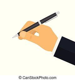człowiek, pisanie, zawiera, pióro