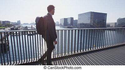 człowiek, plecak, miejski, praca, profesjonalny, pieszy, ...