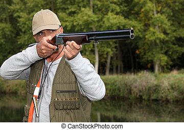 człowiek, polowanie, poza