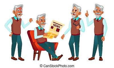 człowiek, pozy, komplet, stary, vector., afisz, broszura, ludzie., muslim, person., odizolowany, ilustracja, przyjacielski, grandparent., sieć, aged., senior, design., rysunek, starszy, arab