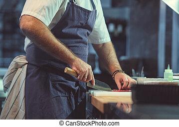 człowiek, pracujący, kuchnia