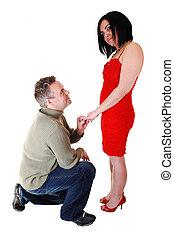 człowiek, proposing.