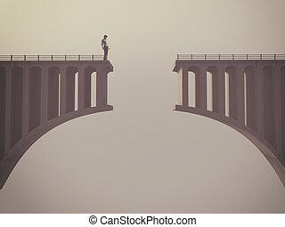 człowiek, przed, niejaki, złamany, most