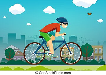 człowiek, przedmieścia, droga, zmarszczenie, rower