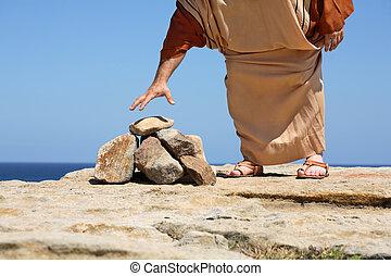 człowiek, przez, kamienie, pojęcie, grzech, kara