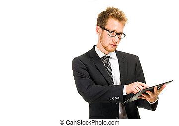 człowiek, przystojny, tabliczka, handlowy, computer.