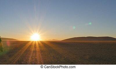 człowiek, pustynia, pieszy