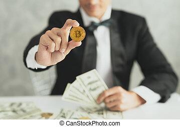 człowiek, ręka, bitcoin, handlowy, pokaz