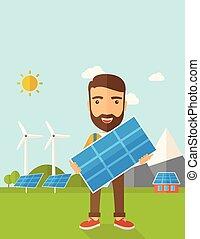 człowiek, słoneczny, panel., dzierżawa