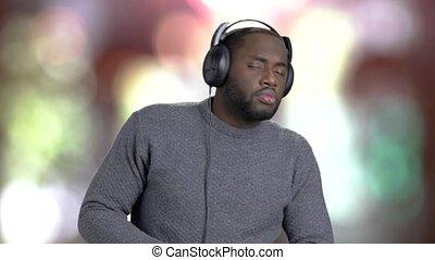 człowiek, słuchawki, słuchający, music.