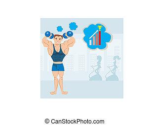 człowiek, sala gimnastyczna, wykonując, silny