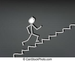 człowiek, schodki do góry, wtykać
