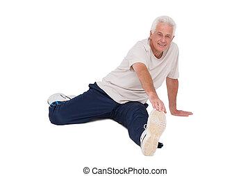 człowiek, senior, jego, noga, rozciąganie