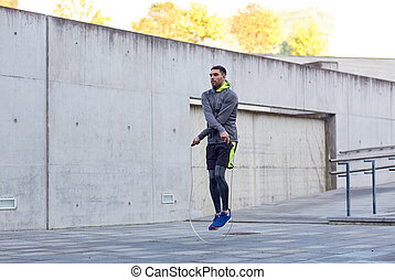 człowiek, skocz-sznur, wykonując, outdoors