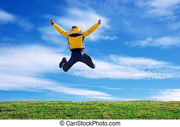 człowiek, skok, na, przedimek określony przed rzeczownikami, zielony, meadow.